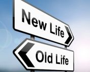 new life old life road signs graphic